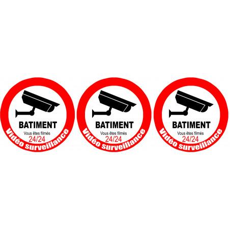 Sticker / autocollant : vidéo surveillance BATIMENT - 3x5cm