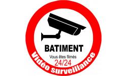 Sticker / autocollant : vidéo surveillance BATIMENT - 15cm