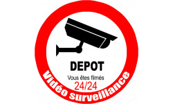 Sticker / autocollant : vidéo surveillance DEPOT - 10cm