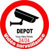 Sticker / autocollant : vidéo surveillance DEPOT - 15cm