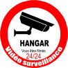 Sticker / autocollant : vidéo surveillance HANGAR - 15cm