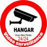Sticker / autocollant : vidéo surveillance HANGAR - 20cm