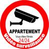 Sticker / autocollant : vidéo surveillance appartement - 15cm