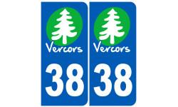 Autocollants : numéro immatriculation 38 (Isère) Vercors