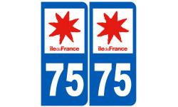 Autocollants : numéro immatriculation 75 (Paris île de France)