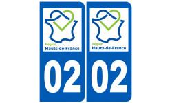 Autocollants : numéro immatriculation 02 Aisne région Haut-de-France