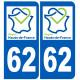 stickers autocollant 62 immatriculation Nord Pas de Calais région Hauts-de-France