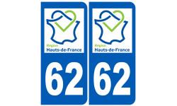 Autocollants : 62 immatriculation Nord Pas de Calais région Hauts-de-France