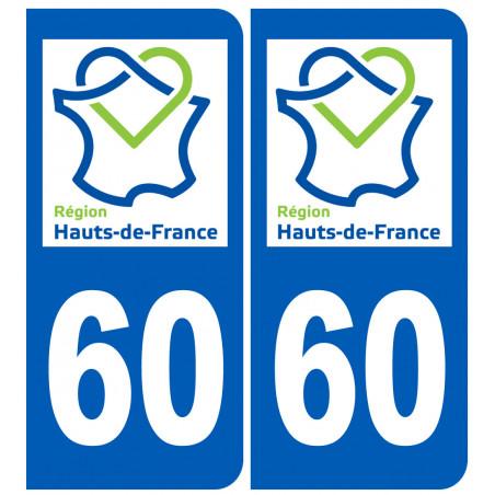 Autocollants : 60 immatriculation de l'Oise région Picardie Hauts-de-France