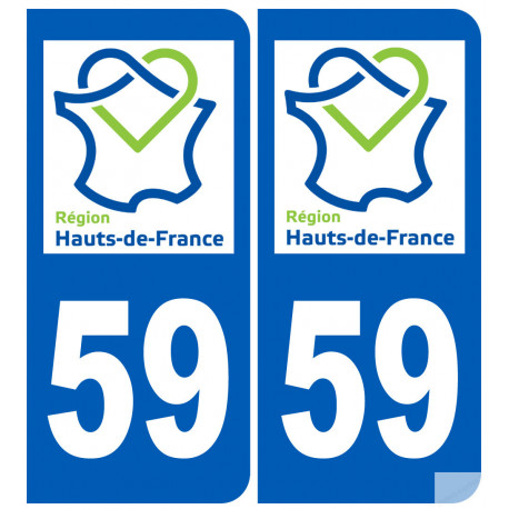 autocollant 59 immatriculation le Nord région Hauts-de-France