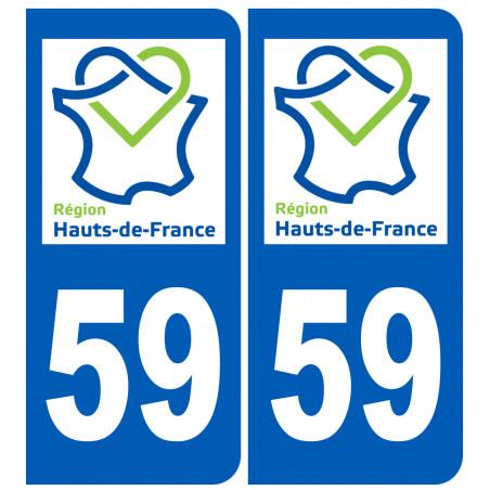 Autocollants : 59 immatriculation le Nord région Hauts-de-France