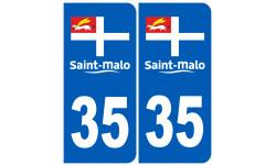 Autocollants : numéro immatriculation 35 Saint Malo