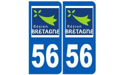 Autocollants : numéro immatriculation 56 (région)