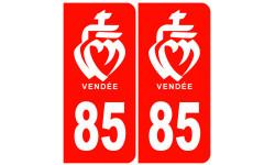 Autocollants : numéro immatriculation 85 de la Vendée