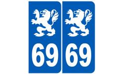 Autocollants : immatriculation 69 Lyon