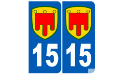 Autocollants : numéro immatriculation 15 Auvergne