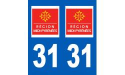 Autocollants : numéro immatriculation 31 (region)