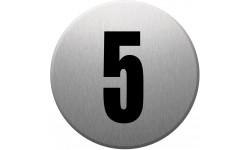 Sticker / autocollant : numéroderue5 - gris brossé