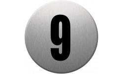 Sticker / autocollant : numéroderue9 - gris brossé