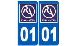 Sticker / autocollant : numéro immatriculation 01 région