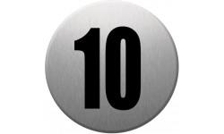 Sticker / autocollant : numéroderue10 - gris brossé