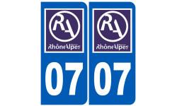 Autocollants : numéro immatriculation 07 région