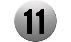 Sticker / autocollant : numéroderue11 - gris brossé