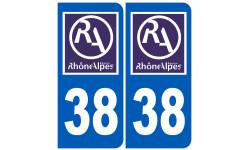 Autocollants : numéro immatriculation 38 région