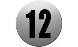 Sticker / autocollant : numéroderue12 - gris brossé