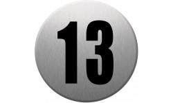 Sticker / autocollant : numéroderue13 - gris brossé