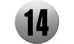 Sticker / autocollant : numéroderue14 - gris brossé