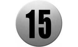 Sticker / autocollant : numéroderue15 - gris brossé