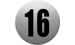Sticker / autocollant : numéroderue16 - gris brossé
