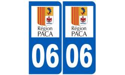 Autocollants : numéro immatriculation 06 région