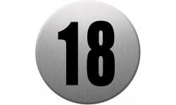 Sticker / autocollant : numéroderue18 - gris brossé