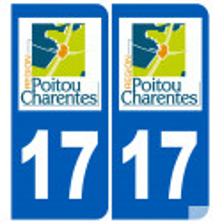 Sticker / autocollant : numéro immatriculation 17 région