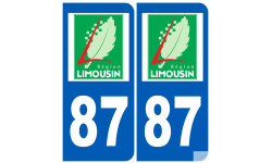Sticker / autocollant : numéro immatriculation 87 région