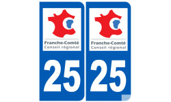 Sticker / autocollant : numéro immatriculation 25 région