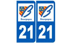 Sticker / autocollant : numéro immatriculation 21 région
