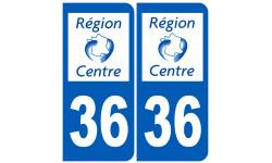 Sticker / autocollant : numéro immatriculation 36 région