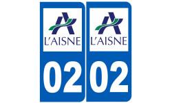 Sticker / autocollant : numéro immatriculation 02 (l'Aisne)
