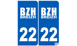 Sticker / autocollant : numéro immatriculation 22 BZH