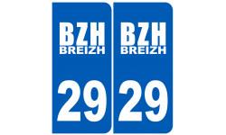 Sticker / autocollant : numéro immatriculation 29 BZH