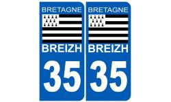 Sticker / autocollant : numéro immatriculation 35 drapeau Breton