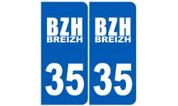Sticker / autocollant : numéro immatriculation 35 BZH