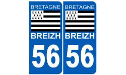 Sticker / autocollant : numéro immatriculation 56 drapeau Breton