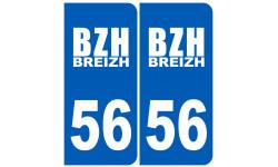 Sticker / autocollant : numéro immatriculation 56 BZH
