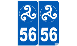 Sticker / autocollant : numéro immatriculation 56 triskell (Morbihan)
