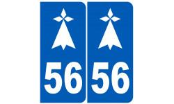 Sticker / autocollant : numéro immatriculation 56 hermine (Morbihan)