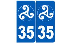 Sticker / autocollant : numéro immatriculation 35 triskel (Ille-et-Vilaine)